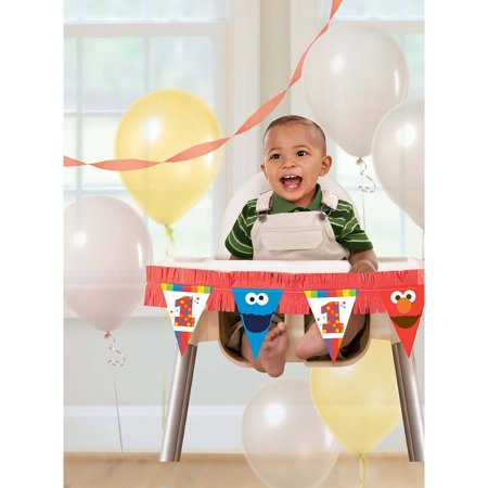 Elmo Turns One Giant High Chair Decorating Kit Walmart Com