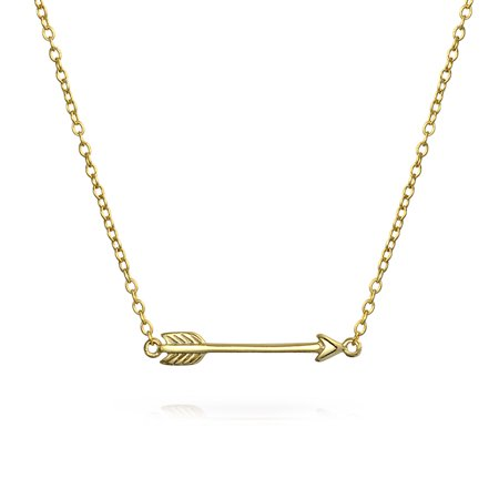Small Sideways Cupid Arrow Pendant Necklace For Women For Girlfriend Teen 14K Gold Plated 925 Sterling Silver Cupid Silver Necklace