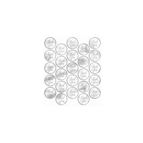Metallic Silver Thank You Sticker Seals (50 count)
