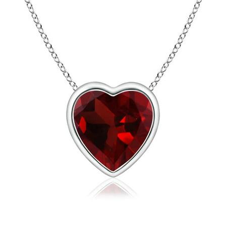Mother's Day Jewelry - Bezel-Set Solitaire Heart Garnet Pendant in 14K White Gold (6mm Garnet) - SP0152G-WG-AAA-6 Bezel Set Heart Pendant