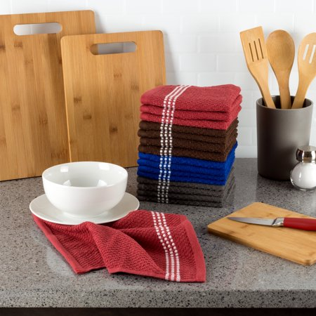 100% Combed Cotton Dish Cloths Pack-Absorbent Popcorn Terry Weave-Kitchen Dishtowels, Cleaning/Drying by Somerset Home (16 Pack-Multiple