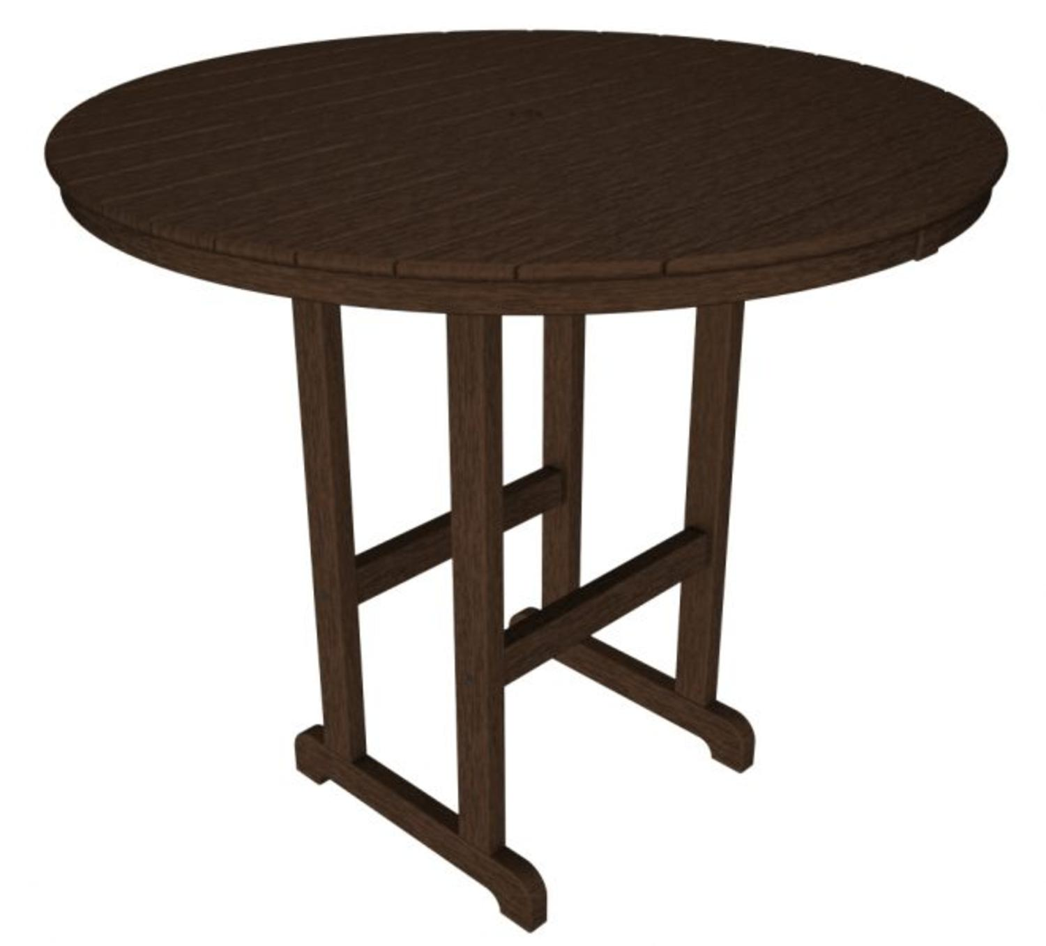 "48"" Recycled Earth-Friendly Outdoor Patio Round Pub Table Chocolate Brown by Eco-Friendly Furnishings"