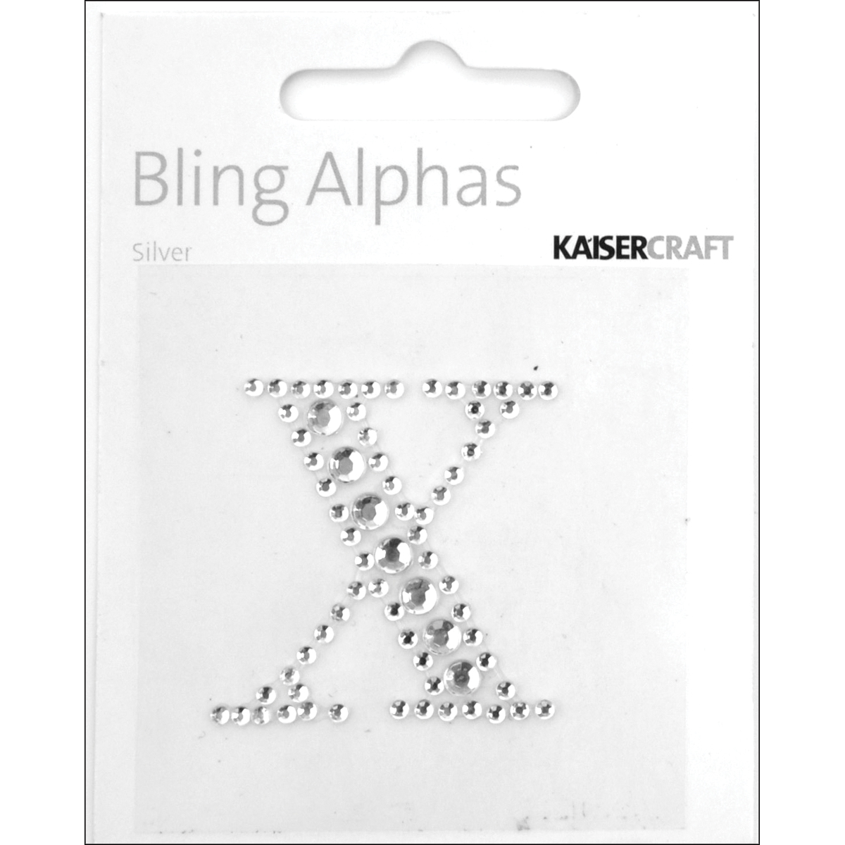 """Bling Alphas Self-Adhesive Rhinestone Letter 1.375""""-Silver Crystal - X"""