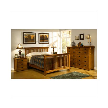 CF Oakton American Craftsman Design Mission Bedroom Set In Medium Cherry Wa