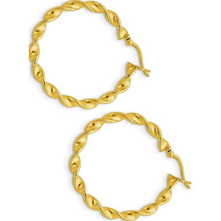 Argent 925 Boucles d'oreilles -flashed 35 mm Patterned Twist Hoop (4.5x31mm) de - image 1 de 2
