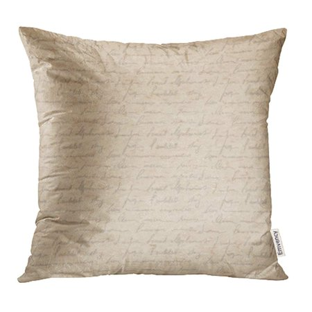 CMFUN Beige Vintage Old with Handwriting Letter with Poems Victorian Style Page Brown Pillowcase Cushion Cover 18x18 inch