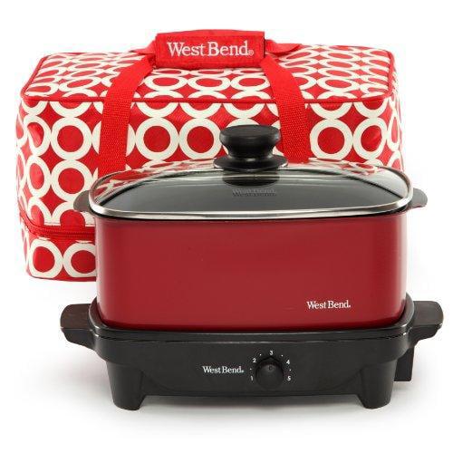 West Bend Kitchen Appliances 84915R Wb Vers Slowckr Tote 5qt Red