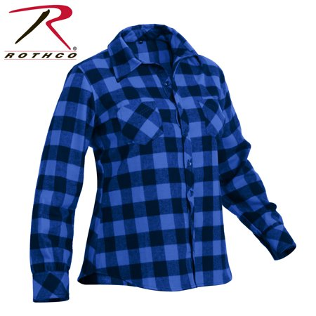 - Rothco Womens Blue Plaid Flannel Shirt