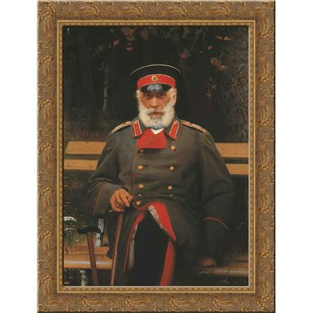 Portrait Of Admiral Login Loginovich Heyden 24X18 Gold Ornate Wood Framed Canvas Art By Ivan Kramskoy