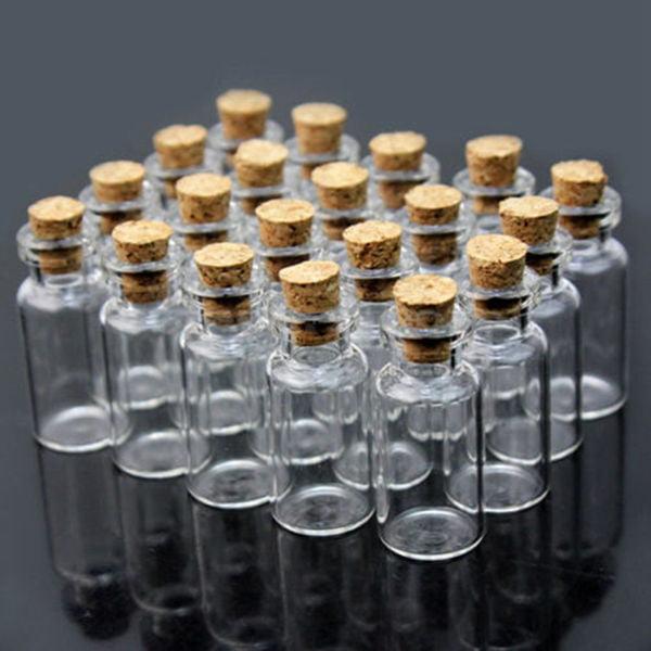 50 pcs 0.5ml Mini Small Cork Stopper Glass Bottles Storage Vials Decorative by