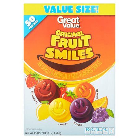 Real Fruit Snacks - (2 Pack) Great Value Original Fruit Smiles, 45 oz, 50 Count