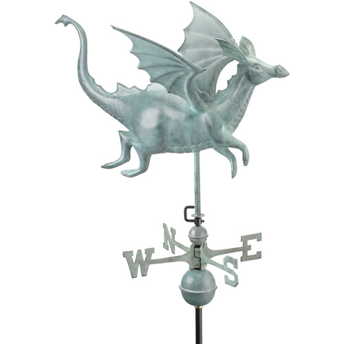 Good Directions Dragon Weathervane, Blue Verde Copper by Weathervanes