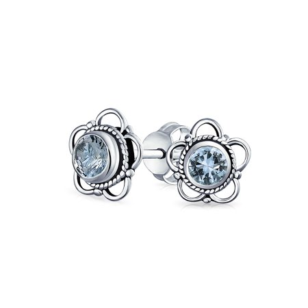 Bali Sterling Silver Fashion Earrings - Bali Style Tiny Flower Gemstone Stud Earrings For Women for Teen Oxidized 925 Sterling Silver More Birthstone Colors