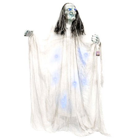 Halloween Haunters 5ft Standing Blue Witch Light-Up Eyes & Body Prop Decoration