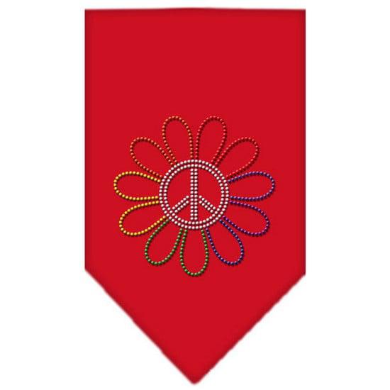 Rainbow Peace Flower Rhinestone Bandana Red Small