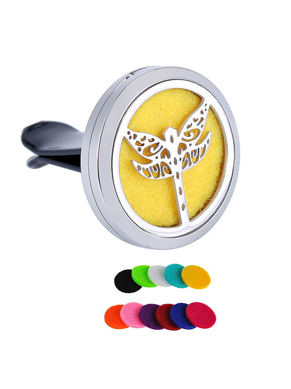 Round Dragonfly Aromatherapy Perfume Essential Oil Diffuser Locket Car Vent Clip by Valyria