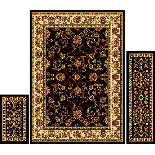 Home Dynamix Ariana 3-Piece Area Rug Set, Ebony/Ivory