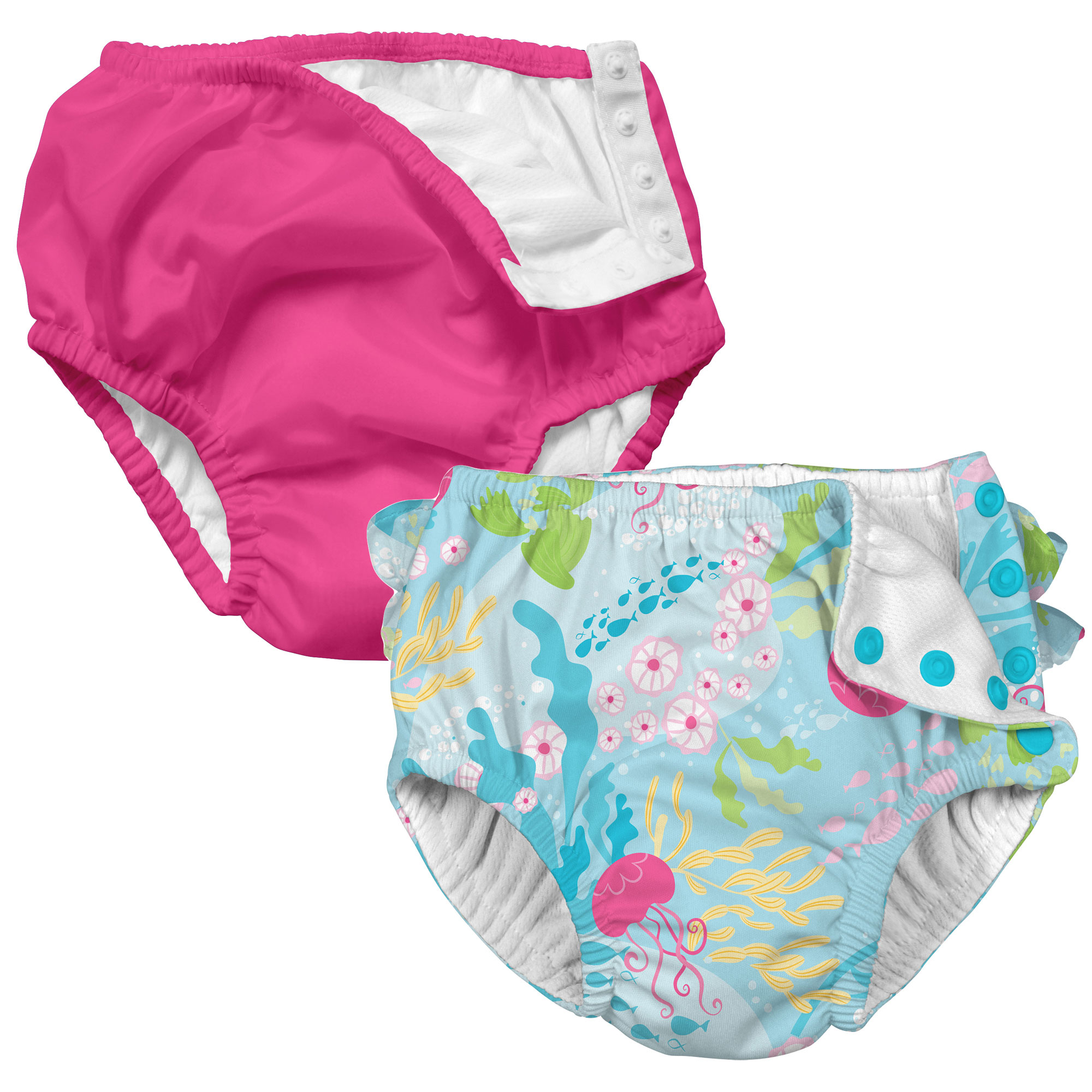 i play Baby and Toddler Snap Reusable Swim Diaper - Hot Pink and Coral Reef - 2 Pack