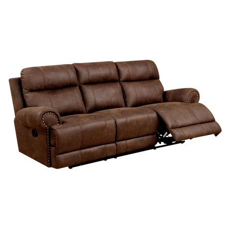 Furniture of America Vanna Contemporary Reclining Sofa, Brown