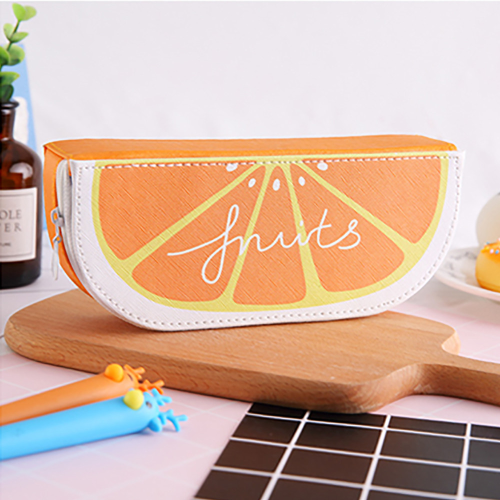 Fresh Cute Fruit Orange Watermelon Kiwi Pen Pencil Bag For Students Gifts