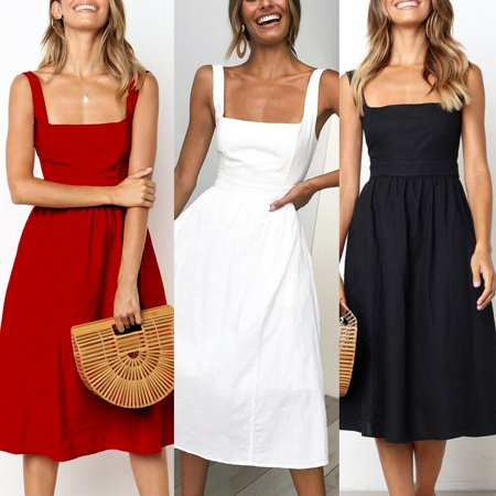 Womens Holiday Strappy A Line Ladies Summer Beach Midi Swing Party Sun Dress