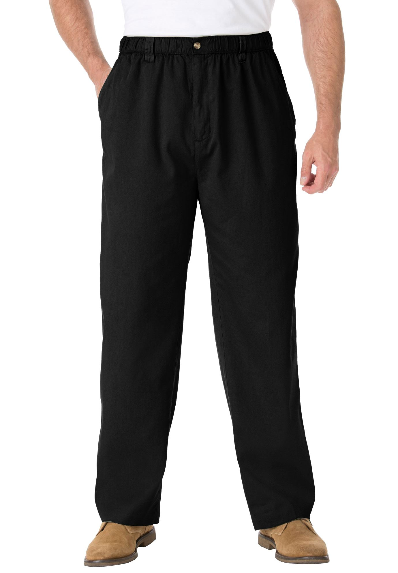 Kingsize Men's Big & Tall Knockarounds Plain Front Pants In Twill Or Denim
