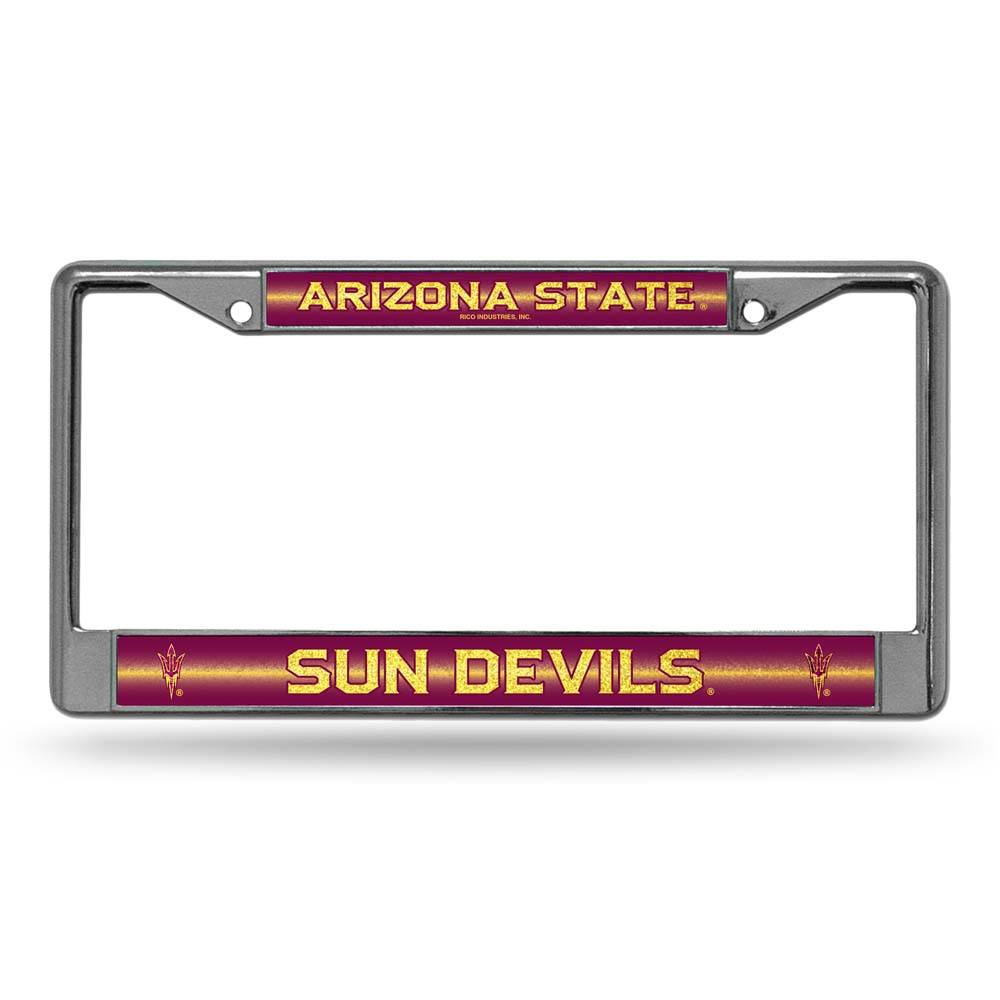 Arizona State Laser Etched Chrome License Plate Frame (Glitter)