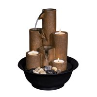 """Alpine Corporation 11"""" Pouring Tiers Tabletop Fountain with 3 Candles"""