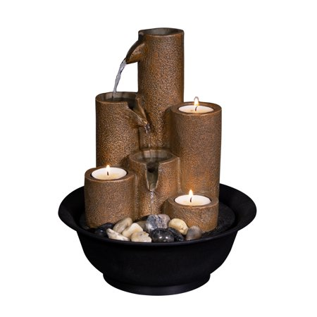 "Alpine Corporation 11"" Pouring Tiers Tabletop Fountain with 3 Candles"