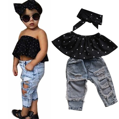 3pcs Newborn Baby Girls Dot Off Shoulder Tops + Ripped Hole Jeans Casual Pants Outfits Clothing Set (Casual Girls Clothes)