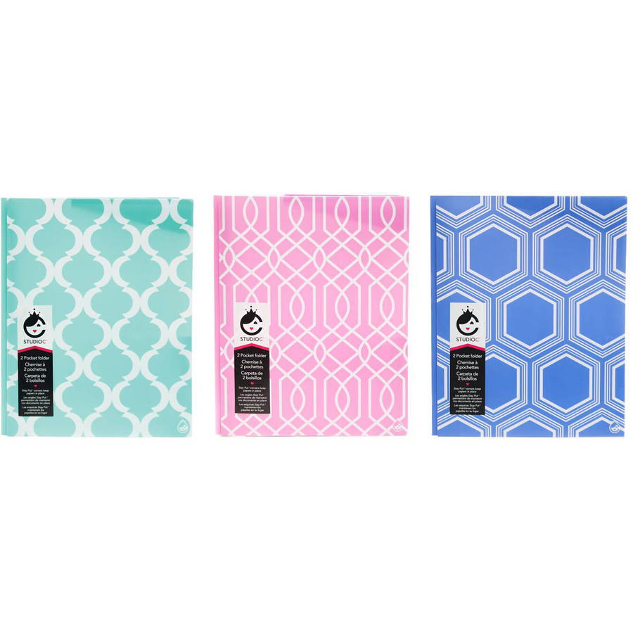 Studio C Pattern Play 2-Pocket Folders with Prongs and Stay Put Corners, 3-Pack