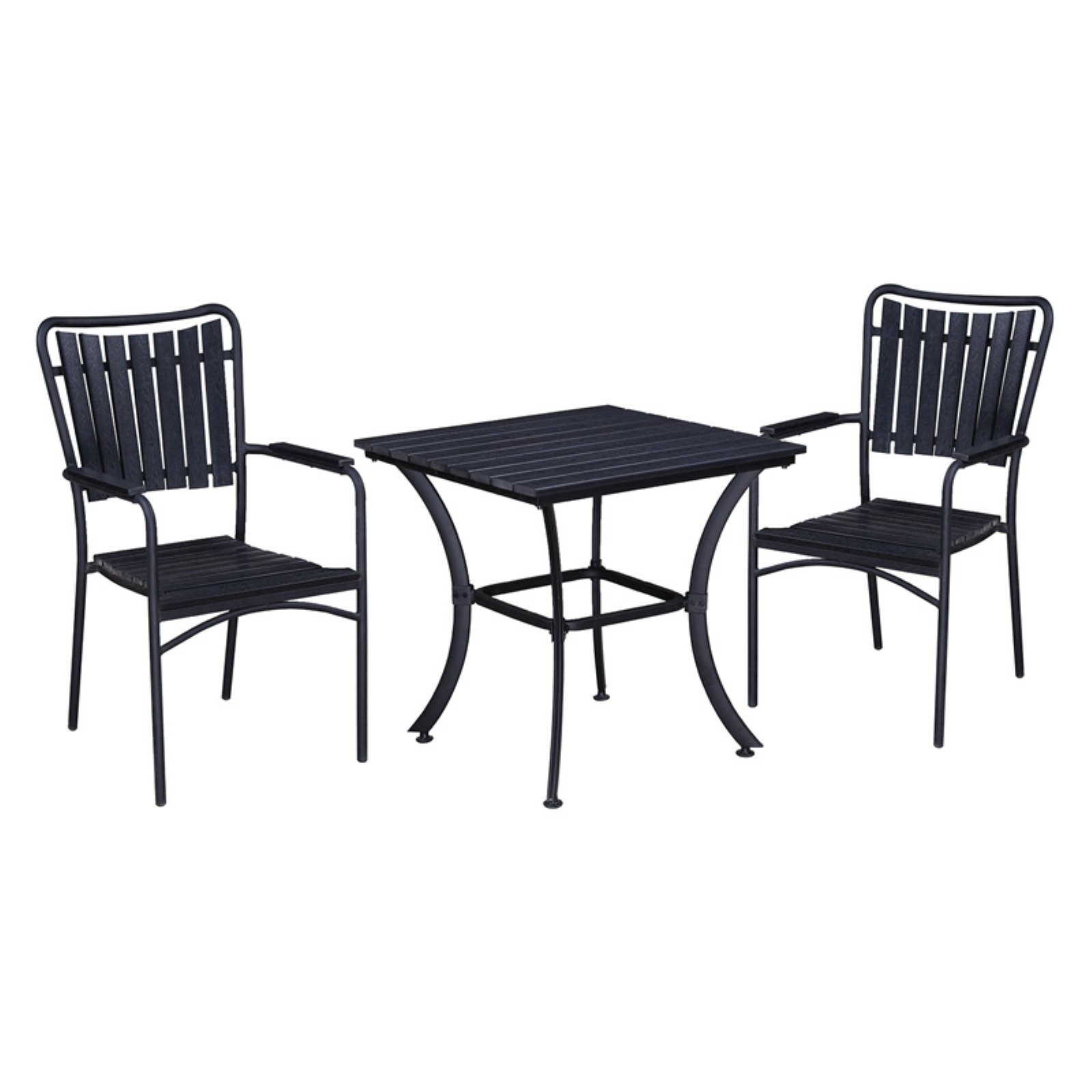 Oakland Living Splat Back Stackable Indoor/Outdoor Square Bistro Set