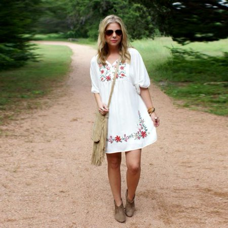 Women Mexican Ethnic Embroidered Pessant Hippie Blouse Gypsy Boho Mini Dress M](Diy Hippie Clothes)