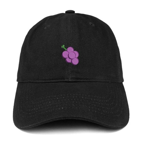 Trendy Apparel Shop Grape Fruit Emoticon Quality Embroidered Low Profile Brushed Cotton Dad Hat Cap - Black - Fruit Hat