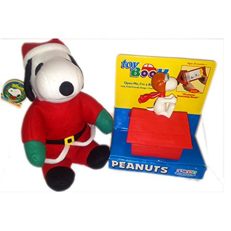 Peanuts Preschoolers Toy Book & Santa Snoopy Plush Set of 2 Gift Bundle Ages 18 Months+ [2 Piece] - Snoopy Gift