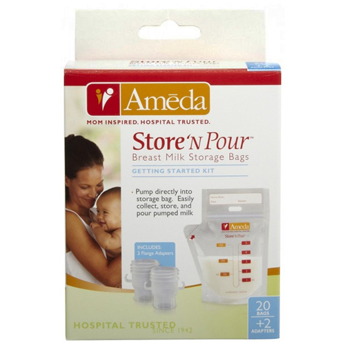 Ameda Store N Pour Breast Milk Storage Bags Getting Started Kit With Adapter - 1 Ea