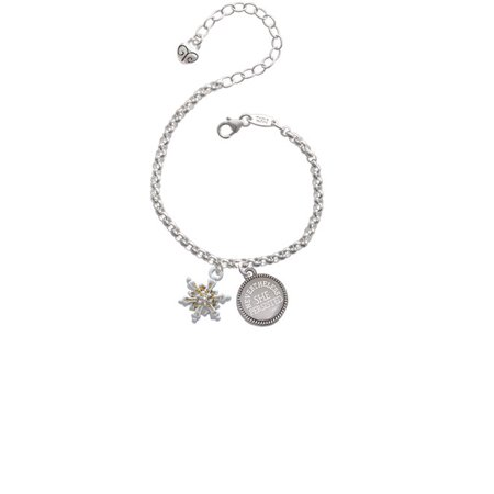 White Snowflake With Glitter And Clear Ab Crystal Nevertheless She Persisted Engraved Bracelet