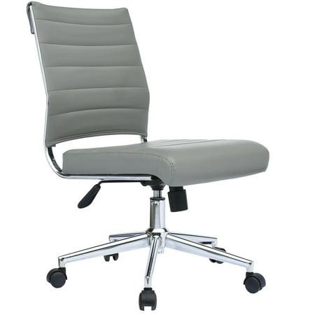 2xhome Gray Modern Ergonomic Executive Mid Back Pu Leather