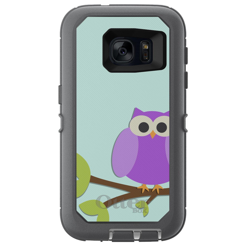 DistinctInk™ Custom Grey OtterBox Defender Series Case for Samsung Galaxy S7 - Purple Owl Cartoon