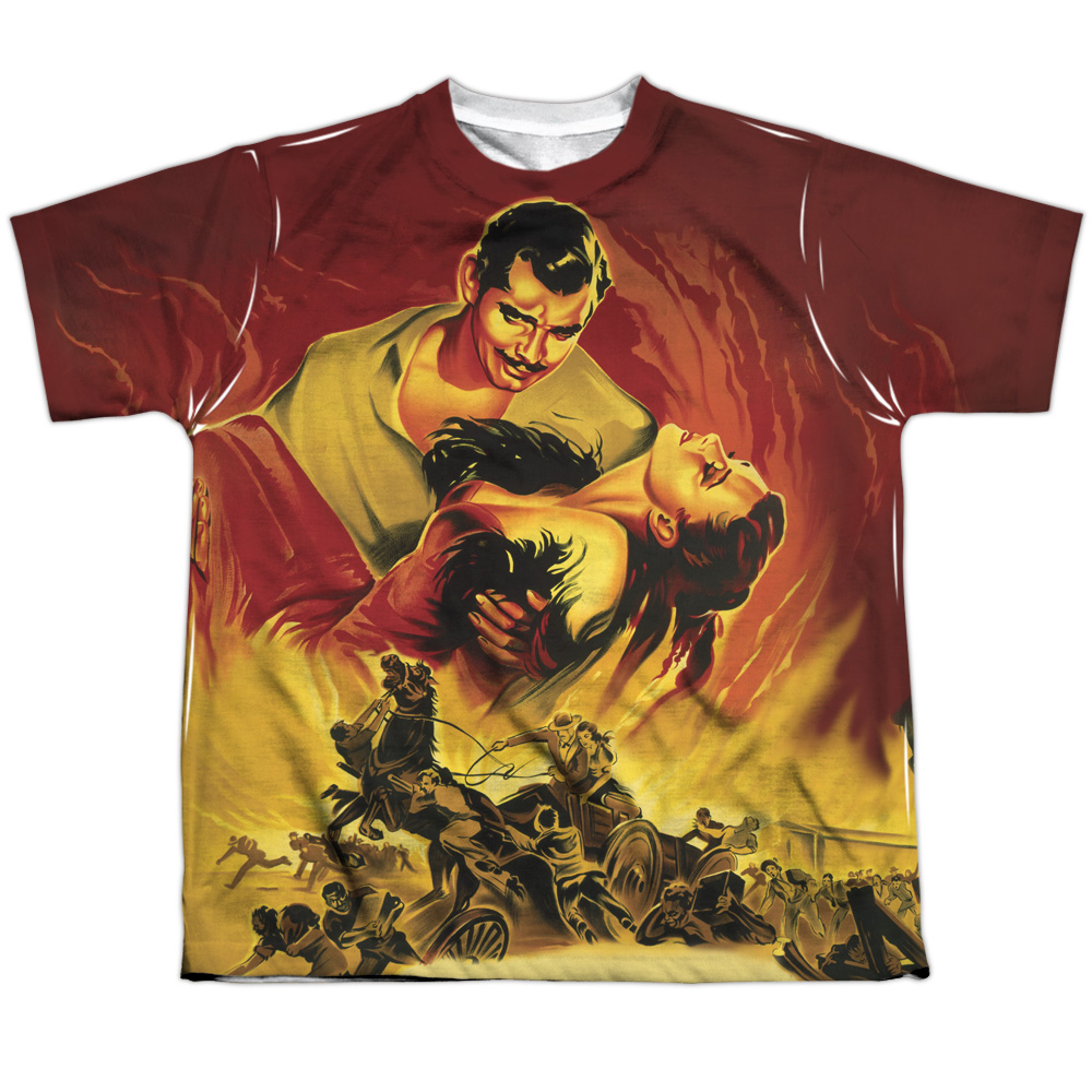 Gone With The Wind Fire Poster Big Boys Sublimation Shirt