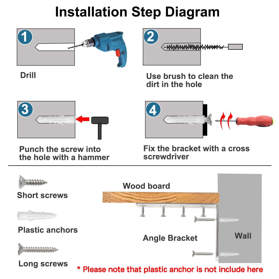Angle Brackets Stainless Steel Brace Fastener Support w Screws 125 x 75mm, 4pcs - image 1 de 7