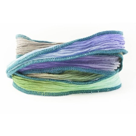 Greek Goddess Handmade Silk Ribbon - Dove Gray, Periwinkle, Olive Green and Light Turquoise with Teal Edges, Dove Gray, Periwinkle, Olive Green and Light.., By Wedding Collectibles