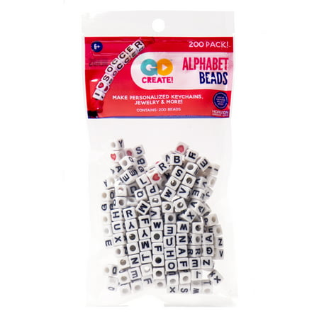 Kids Craft Large Alphabet White Beads, 1 (Wooden Letter Beads)