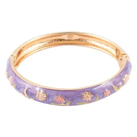 Unique Bargains Girl Metal Spring Closure Flower Enamel Round Bracelet Bangle Light