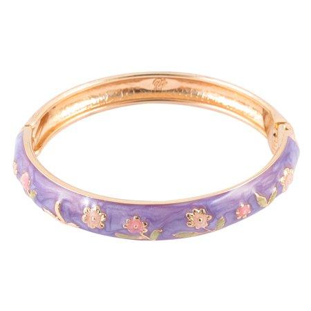 Unique Bargains Girl Metal Spring Closure Flower Enamel Round Bracelet Bangle Light - Enamel Cabochon Bangle