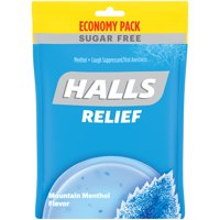 HALLS Relief Mountain Menthol Sugar Free Cough Drops, Economy Pack, 70 Drops