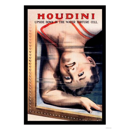 Houdini: Upside Down in the Water Torture Cell Print Wall Art - Upside Down Mirror Halloween