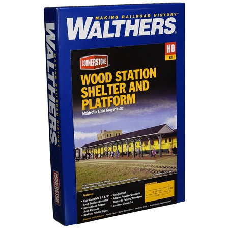 HO Scale Wood Station Shed and Platform, Typical umbrella-style shelter By Walthers Cornerstone Series Kit