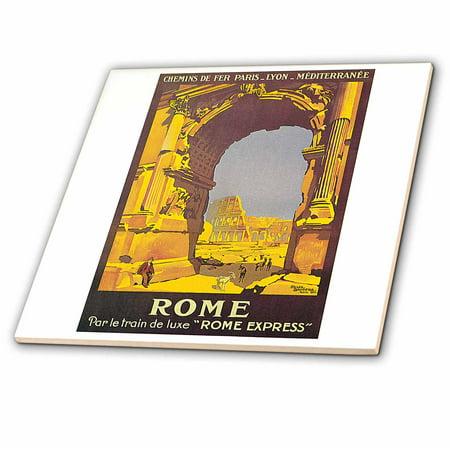 3dRose Vintage Rome Par le Trail de Luxe Rome Express Train Travel Pos