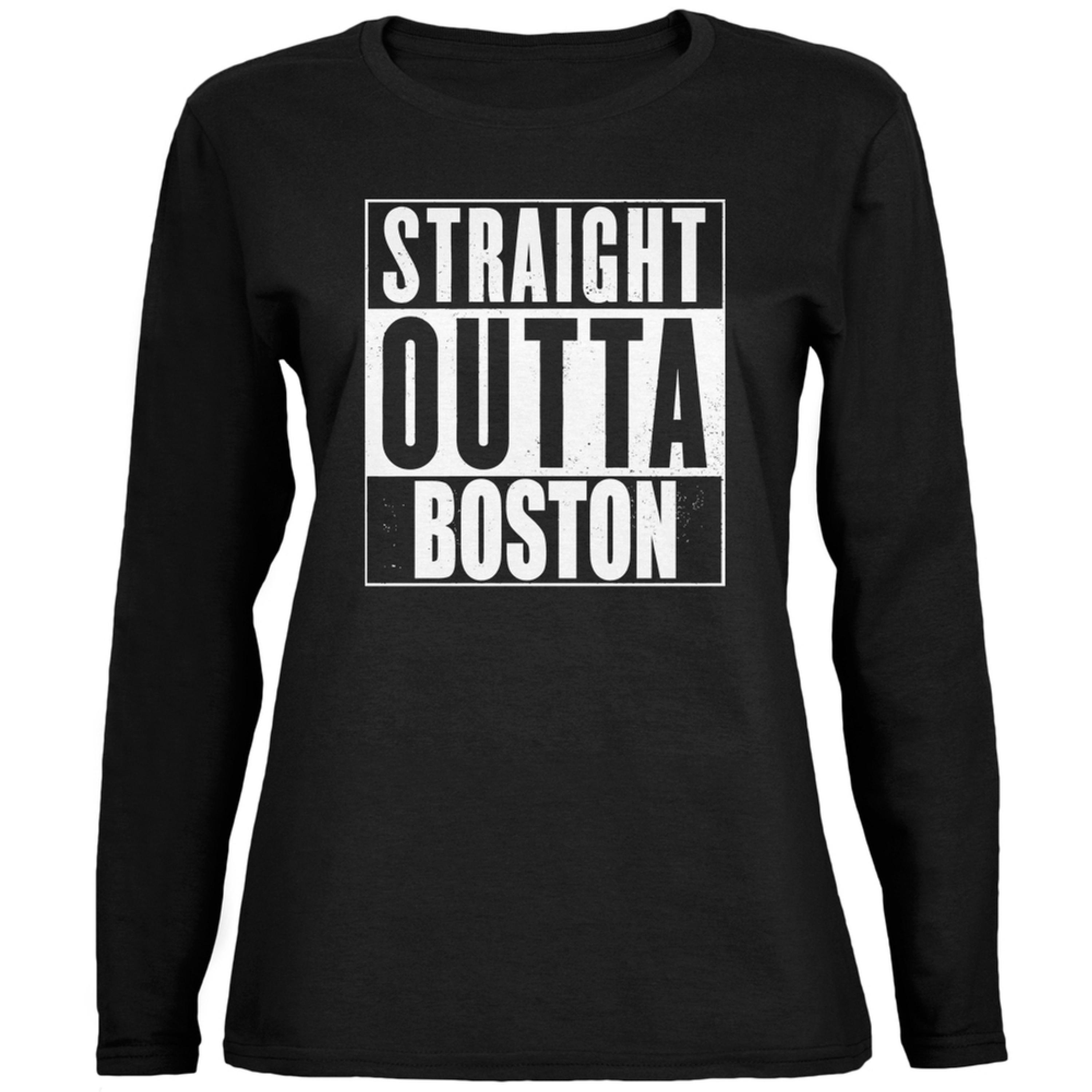 Straight Outta Boston Black Womens Long Sleeve T-Shirt
